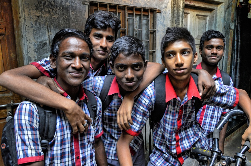 Schoolboys at informal urbanisation, Mumbai, India, 2013 (Photo: R.R.)